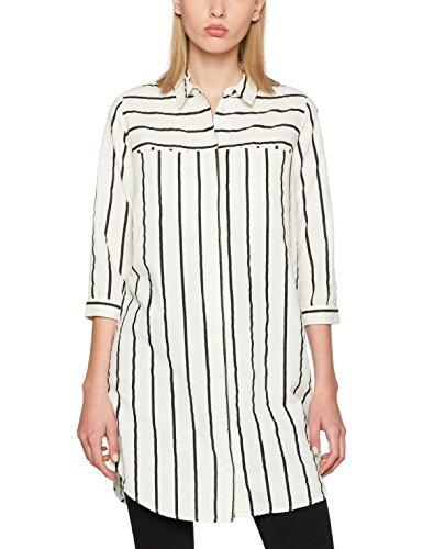 Vero Moda Vmstripy 3/4 Long Shirt A, Blouse Femme Blanc (Snow White)