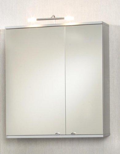 #Dreams4Home Spiegelschrank Pirol Schrank Badmöbel Badezimmerspiegel Badezimmer inkl. Beleuchtung alu#