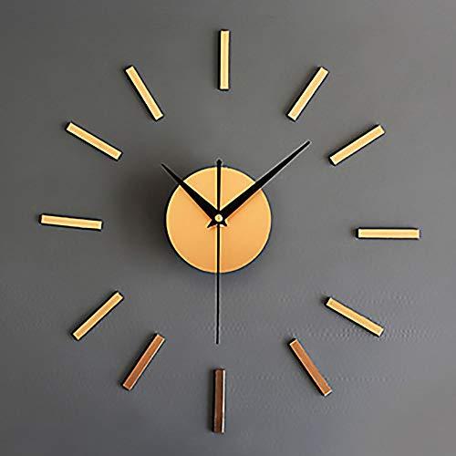 y Hübsch Moderne zeitgenössische europäische Art Retro- Acrylglas-Metallrunde Innenschlafzimmer-Wohnzimmer-Wanduhr/Uhr Mode (Color : Gold) ()