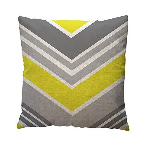 JiaMeng Funda de cojín de Almohada, Patrón geométrico Amarillo Throw Pillow Case...