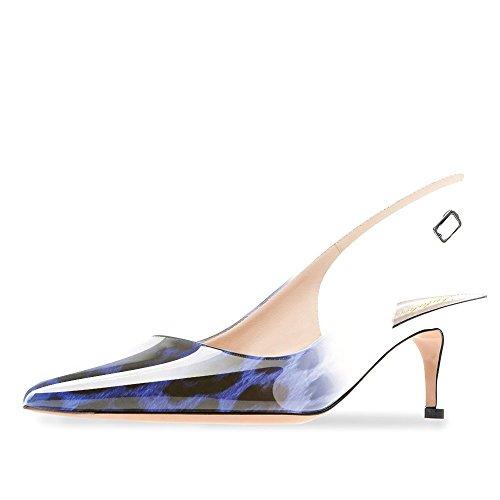 Lutalica Frauen Kitten Heel Spitze Patent Slingback Kleid Pumps Schuhe für Party Patent Blau-Leopard Größe 39 EU -
