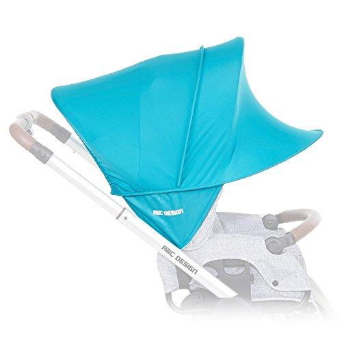 ABC Design Sonnensegel / Sonnendach, Sonnenverdeck, Sonnenschutz mit UV-Schutz 50+ für Kinderwagen und Buggys / Coral / praktische Sonnenschirm Alternative