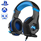 Mpow Gaming Headset für PC PS4 Xbox One, 7 Farbe RGB-LED Licht, Surround-Sound PC Headset mit Mikrofon, Super Leicht Kopfhöer, Over-Ear Gaming Kopfhörer für Mac Handy Tablet Nintendo Switch