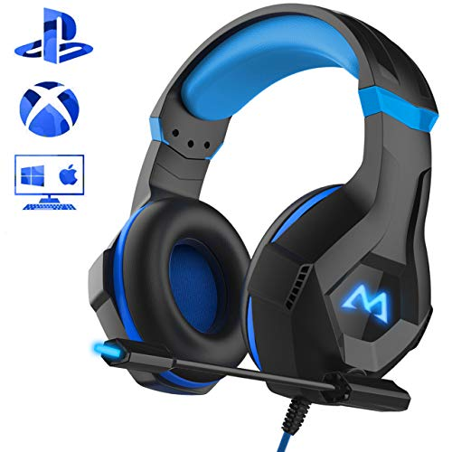 Mpow Gaming Kopfhörer für PC PS4 Xbox One, 7 Farbe RGB-LED Licht, Surround-Sound Gaming Headset mit Mikrofon, Super Leicht Headset Over-Ear-Gaming Kopfhörer für Computer Mac Handy Nintendo Switch