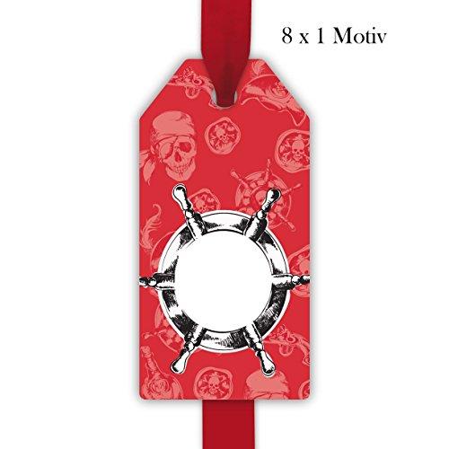 8 coole, rote, Piraten Geschenkanhänger, Anhänger, Geschenkkarten Papieranhänger Hängeetiketten Tags mit Totenkopf Format 5,5 x 11cm, zum Beschriften: passt zu Geschenkpapier: ()