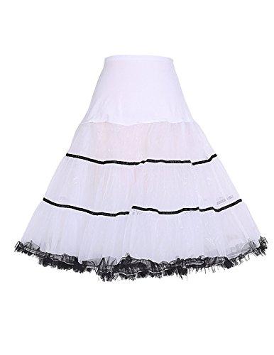 Honeystore Damen's Vintage 1950s Unterkleid Rock'n'Roll Kostüme Kleid Ballet Petticoat Tutu Rock Weiß Schwarz (Kostüme Rock Roll Baby And)