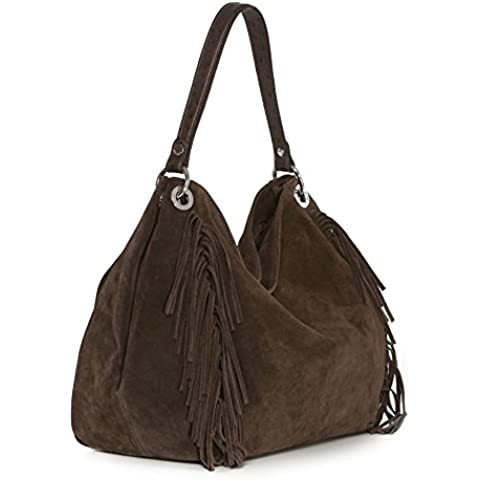 Arcadia Lucy grande del bolso del cubo de gamuza de cuero, bolso del hobo, bolso de hombro