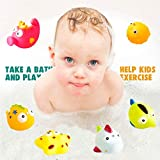 Lemical Bath Toys, 11 Pcs Magnetic Fishing Game and Floating Squirt Water Toys with Organizer Bag for Boys Girls, Education Toy for Children /Kids Bathroom Bathtub Bathtime Swimming Pool Party Favors