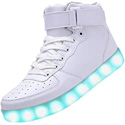 PADGENE Chaussures de Sport Montantes à LED Clignotantes Rechargeables par USB (43 EU, Blanc)