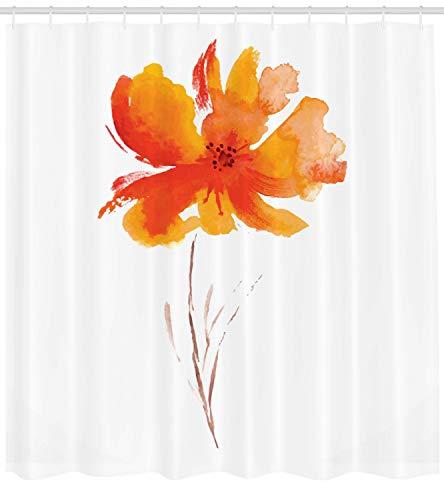Inspiriert Badewanne (ABAKUHAUS Duschvorhang, Gerbera Blume auf Simplen Einfachem Klarem Hintergrund Natur Inspirierte Romantische Kunst, Blickdicht aus Stoff inkl. 12 Ringe für Das Badezimmer Waschbar, 175 X 200 cm)