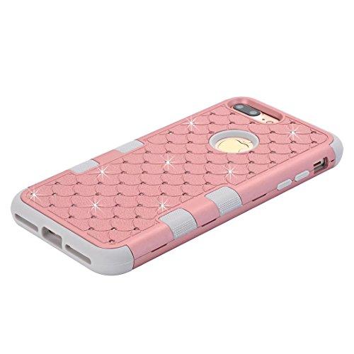 """iPhone 7 Plus Hülle,Lantier 3 in 1 Eleganter Luxus verzierte Bling Rhinestone Entwurf Dual Layer Hybrid Stoß hartes Stoßschutz Hülle Abdeckung für iPhone 7 Plus 5.5"""" Schwarz+Pink Cute Rhinestone Rose Gold+Grey"""
