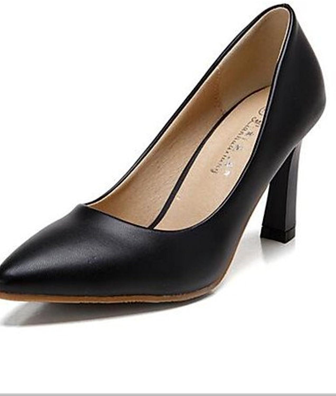 ZQ Zapatos de mujer-Tac¨®n Robusto-Tacones-Tacones-Casual-PU-Negro / Blanco / Almendra , white-us8 / eu39 / uk6...