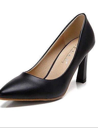 WSS 2016 Chaussures Femme-Décontracté-Noir / Blanc / Amande-Gros Talon-Talons-Chaussures à Talons-Polyuréthane almond-us6 / eu36 / uk4 / cn36