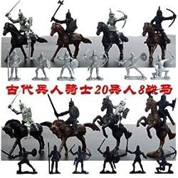 Dabixx 28 Piezas Medievales Caballeros Guerreros Caballos Niños Juguete Soldado Figuras Modelo Juego Negro y Gris
