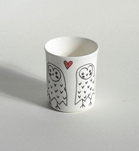 Búhos en el amor té luz vela holder-blackbird Studio