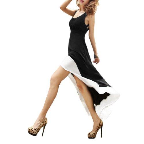 Femmes Profond Encolure U Sans Manche Dos Découpe Ourlet Bas Haut Robe Noir
