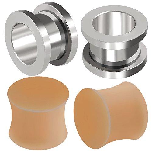 4 Stück flesh tunnel expander dehnstäbe hautfarbe silikon piercing chirurgenstahl ohr A1WCT - 12mm