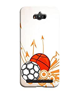 PrintVisa Designer Back Case Cover for Asus Zenfone Max (soccer ball basketball dashing painting)