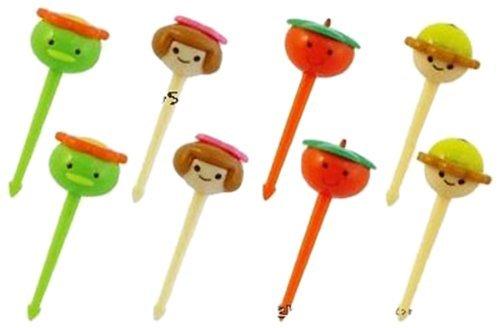 (nicebuty Bento 3D Food Pick, 8-teilig, niedliche Runde Face)