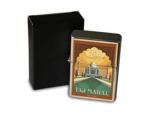 briquet-chrome-essence-tour-du-monde-taj-mahal-en-inde-merveilles-du-monde-rarement-imprime