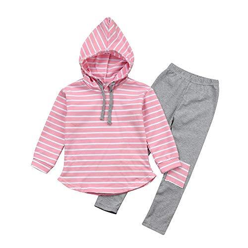 Spieler Fußball Kostüm Halloween - feiXIANG Baby 2 stücke Kleidung Set Streifen Hoodie Lange Pants für Mädchen Kleinkind Kapuzenpullover Hose Anzug (Rosa,100)