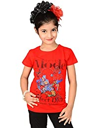 Sweet Angel Red color round neck top with mode print on chest for girls