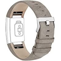Goosehill Armband für Fitbit Charge 2, Echtes Lederarmband Erstatzband für Fitbit Charge 2 Unisex Fitness Armband