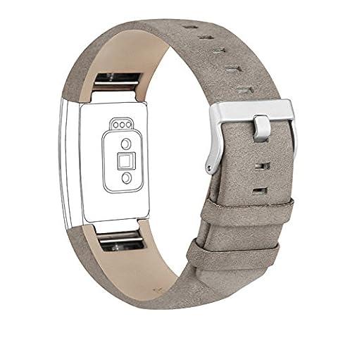 Pour Fitbit Charge 2bandes, cuir véritable de remplacement Bandes pour