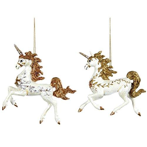Good-will set di 2 decorazioni natalizie in resina sintetica, unicorni con decorazione floreale e perline, 10 cm, bianco e oro