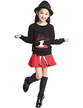 RETUROM NUEVO ESTILO Bebés y Niños Conjunto de dibujos animados de manga larga de impresión del chándal + falda...