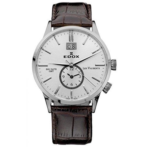 Edox Men's Les Vauberts GMT 40.5mm Brown Leather Band Steel Case Quartz Silver-Tone Dial Watch 62003-3-AIN