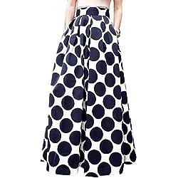 Mujer Vintage Faldas Largo Talla Grande Retro Impresión de Lunares Alta Cintura De Cóctel Fiesta Rockabilly con Bolsillo Gusspower