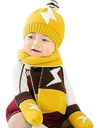499e10c4c0941 GONGZHUMAMA - Baby Set de 3 Piezas Bufanda de Punto Gorro Modelo de  Relámpago Guantes de