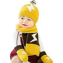 GONGZHUMAMA - Baby Set de 3 Piezas Bufanda de Punto Gorro Modelo de  Relámpago Guantes de d25454690e8