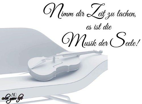 Preisvergleich Produktbild WANDTATTOO Sprüche ***Nimm dir Zeit zu lachen,  es ist die Musik der Seele!*** Größen u. Farbauswahl - von A&D design (100cm x 46cm)