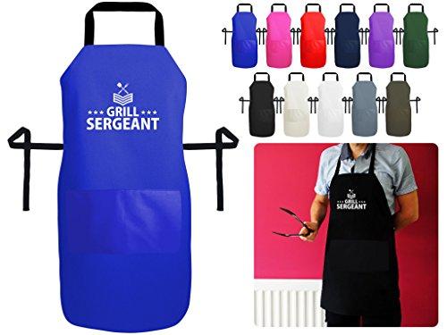Grill Sergeant BBQ und Kochen Schürze–Military, Design inspiriert–Luxus British Made Schürze mit Tasche, a. Royal Blue Polycotton, Small 60cm x 40cm (Snap Blue Royal)