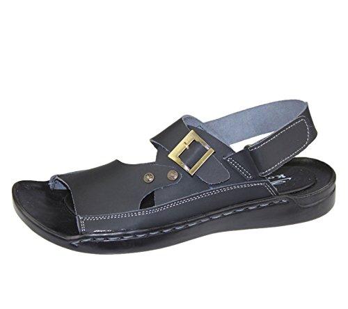 Herren veclro Verschluss Sandalen Sommer Casual Walking Beach Slipper Leder Beach Fashion Flip Flop Größe Schwarz