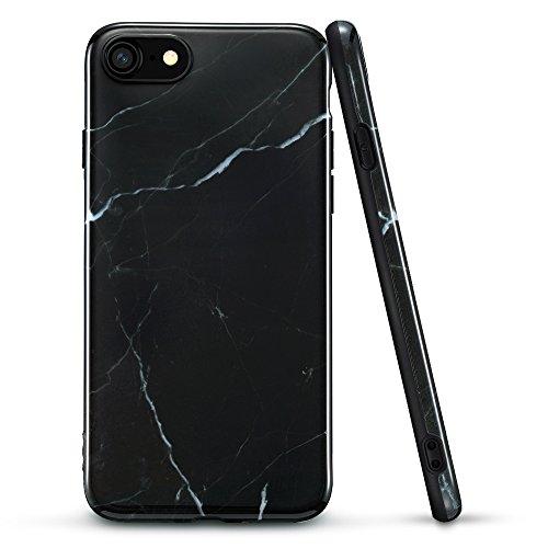 Schwarz-marmor (iPhone 7 Hülle, ESR® Weiche Silikon Schutzhülle mit Schwarz Marmor Muster Bumper Case Hülle für iPhone 7 (4,7 Zoll) (Marquina))
