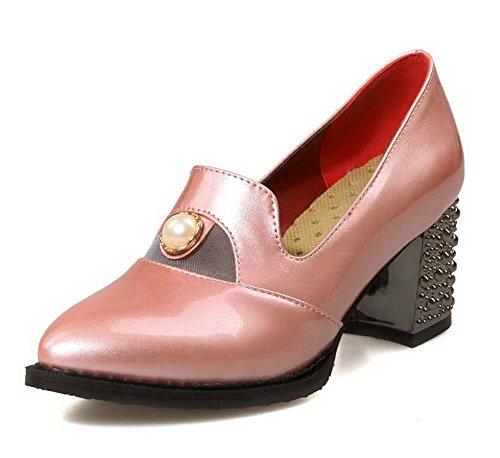 AgooLar Femme Matière Souple Tire Pointu Couleur Unie Chaussures Légeres Rose