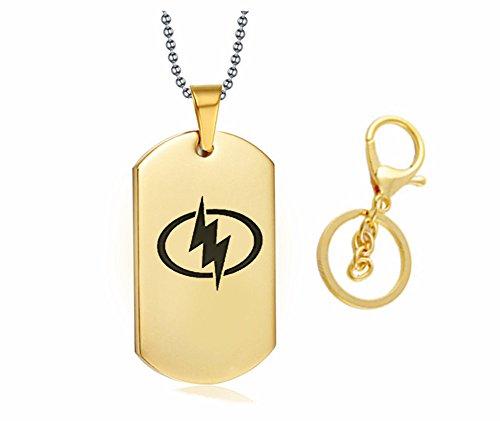 LF Herren Damen Edelstahl DC Flash Logo Superhero Blitz Militär Dog Tag Halskette Schlüsselanhänger Anhänger Schlüsselanhänger für Flash Fan Geschenk Gold -