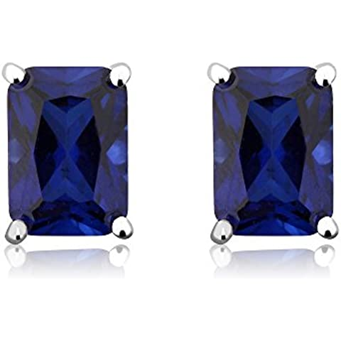 2.00quilates impresionante corte Esmeralda Creado Azul Sapphire Pendientes de tuerca de plata de ley