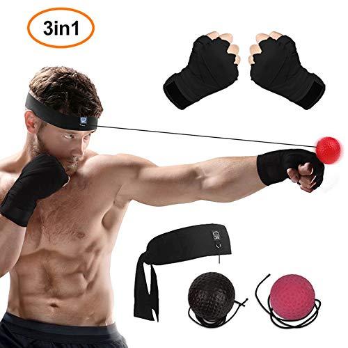 WLMall Reflex Ball Boxe, 2 Boxing Reflex Ball + Benda Boxe (Aumentare la velocità di Reazione/Decompressione) - Portatile Pallone Allenamento/Attrezzature per Il Fitness, MMA e Altre Battaglie