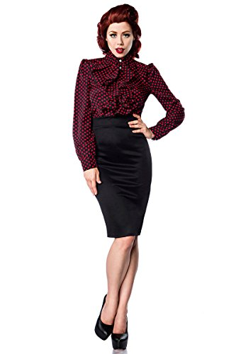 yD - Camicia - Basic - Collo mao  - Maniche lunghe  -  donna Schwarz/Rot