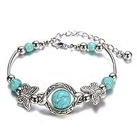 Flybloom Turquoise Handmade Bracelet Charm Bracelet Bangle for Women Girls