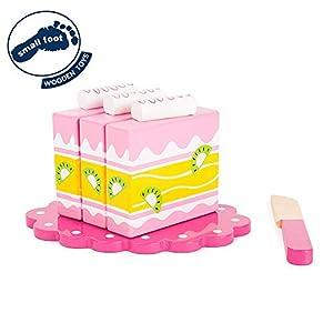 Small Foot 10885 - Pastel para la Cocina (100% Certificado FSC), con Cierre de Velcro para Cortar, Incl. Cuchillo de Madera y Plato pequeño, Apto para niños a Partir de 3 años