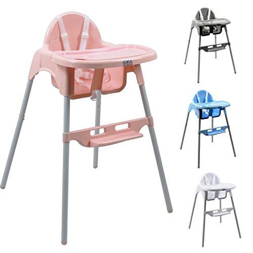 Monsieur Bébé  Chaise haute enfant, réglable hauteur et tablette - 4 coloris - Norme NF EN14988