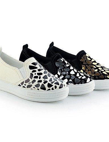 Shangyi Gyht Chaussures Femme-mocassins-décontracté-bout Rond-plat-synthétique-noir / Blanc / Doré Noir