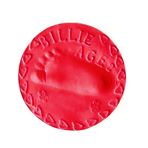 Handabdruck und Fußabdruck für Baby ,COLORFUL 50g Baby Lufttrocknung Soft Clay Handabdruck Fußabdruck Impressum Casting Fingerprint ,8 Farben für wählen (Rot)