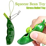 Fidget Bean Toy, Squeeze-a-Bean Puchi Puti Mugen Edamame Keychain Keyring Extrusion Bean Pea Soybean Stress Relieving Keychain Toys , Sold By YUYOUG