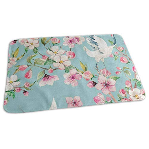 Voxpkrs Changing Pad Watercolor Cherry Blossom Crane Baby Diaper Urine Pad Mat Fantastic Adults Urinal Mats Sheet for Any Places for Home Travel Bed Play Stroller Crib Car (Baby-dusche Cherry Blossom)